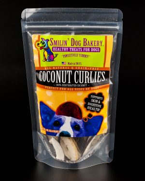 Coconut Curlies - 4oz all natural & grain free dog treats - 100% dehydrated coconut | Smilin' Dog Bakery, LLC.