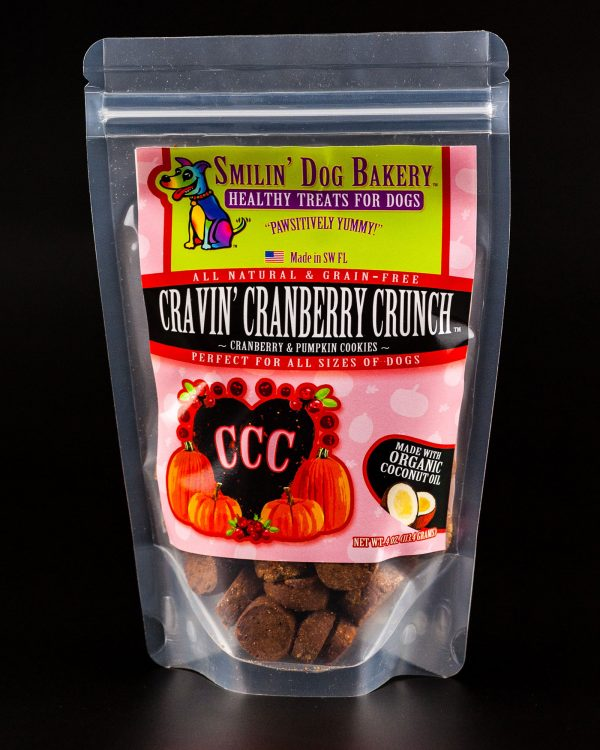 Cravin' Cranberry Crunch - 4oz all natural & grain free dog treats - cranberry & pumpkin cookies | Smilin' Dog Bakery, LLC.