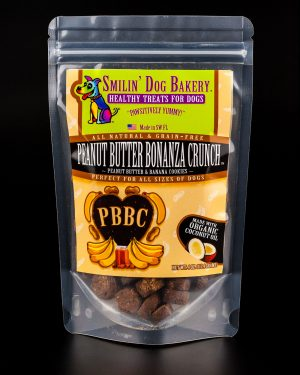 Peanut Butter Bonanza Crunch - 4oz all natural & grain free dog treats - Peanut Butter & Banana Cookies | Smilin' Dog Bakery, LLC.