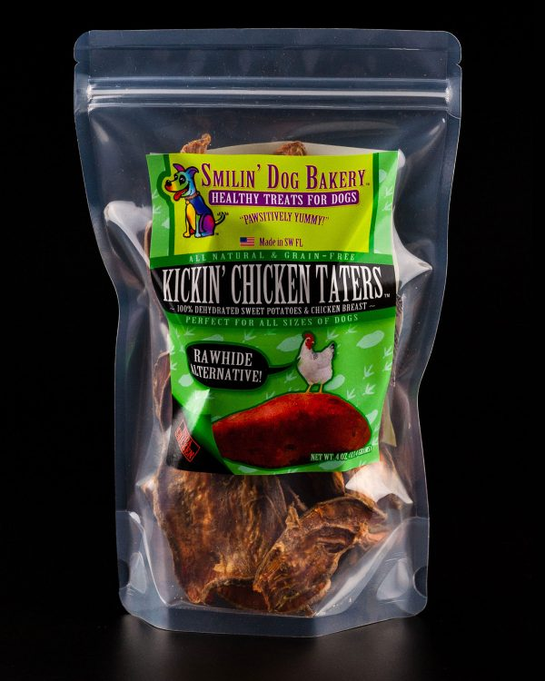 Kickin' Chicken Taters- 4oz all natural & grain free dog treats - 100% dehydrated sweet potatoes & chicken breast | Smilin' Dog Bakery, LLC.